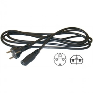 3 Conductor Power Cord - European SCHUKO plug CEE7/7 to IEC320-C13 socket, Blk, 6ft