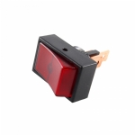 Round Hole Illuminated Automotive Switch, SPST, ON-OFF, Red
