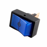 Round Hole Illuminated Automotive Switch, SPST, ON-OFF, Blue