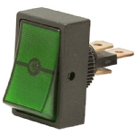 Round Hole Illuminated Automotive Switch, SPST, ON-OFF, Green