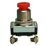 Momentary Push Button Switch, SPST 6A@120V, (OFF)-ON, Red