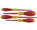 Insulated Cushion Grip Slotted Screwdrivers 3.5 and 4.5mm; Phillips #1 and #2.  4 Piece Set