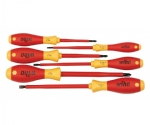 Insulated Cushion Grip Slotted Screwdriver 3.4, 4.5, 6.5mm & Phillips #1, 2 & 3.  6 Piece Set