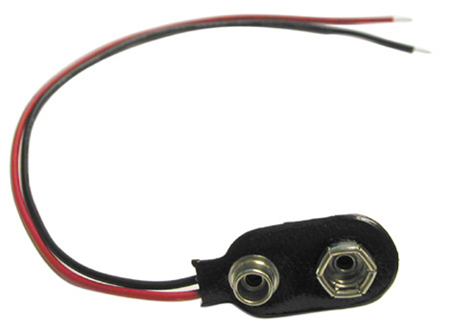 9V Battery Clip - 24 AWG Wire Leads, Pkg/10