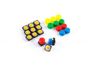Tactile Button with Caps - Assorted, Pkg/12