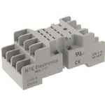 Relay Socket, 14 Pins, Screw Lugs, 10 A, 300 V, DIN Rail