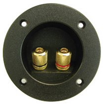 "Speaker Terminals - 2 Gold Contact Binding Posts Mounted On Recessed Platic Plate, 3"" Dia."