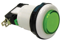 Game Switch - SPDT Round Green Lens, On-(On)