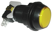 Game Switch - SPDT Round Yellow Lens, On-(On), Illuminated