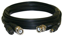 Extension Cable - BNC & 2.1mm Plugs, 100ft Black