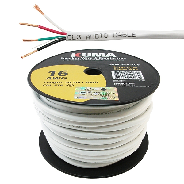 Four Conductor Speaker Wire | High Performance Speaker Wire In Wall 16awg 4 Conductor 100ft